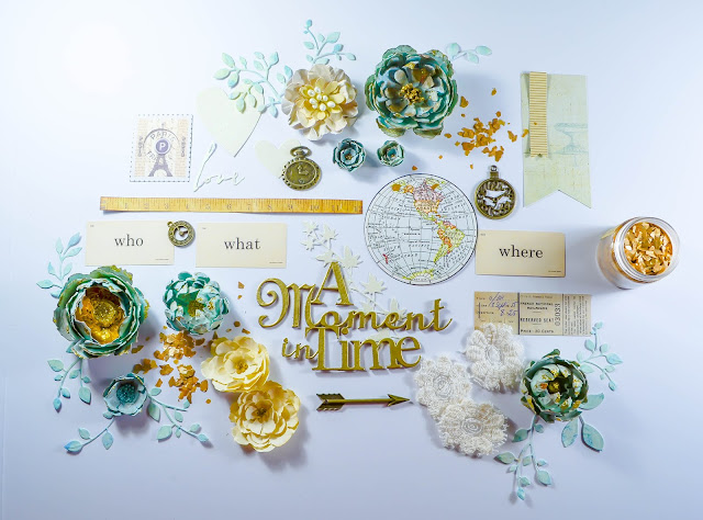 Teal, gold, cream, beige, and ivory scrapbooking kit with handmade flowers, mica flakes, and die cut greenery