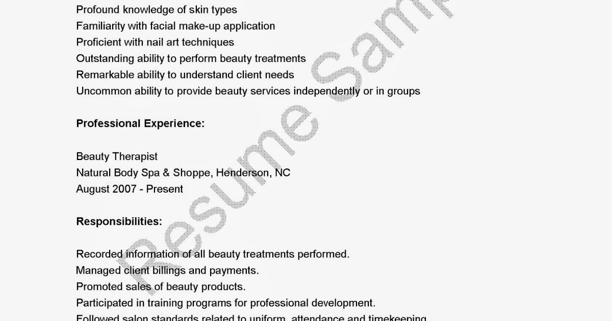 Resume Samples Beauty Therapist Resume Sample