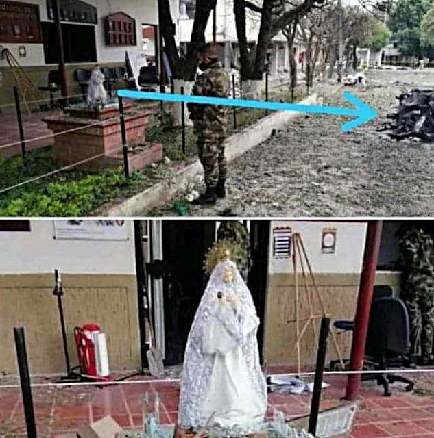 Virgem da Proteção detalhes do atentado