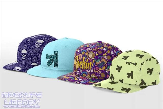 Pack Of Snapback Cap Mockup