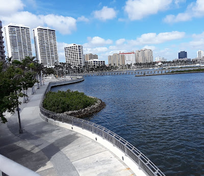 The dog friendly walkway along the intercoastal waterway in downtown West Palm Beach is a great place to walk your dog.  Great pet travel destination for dogs.