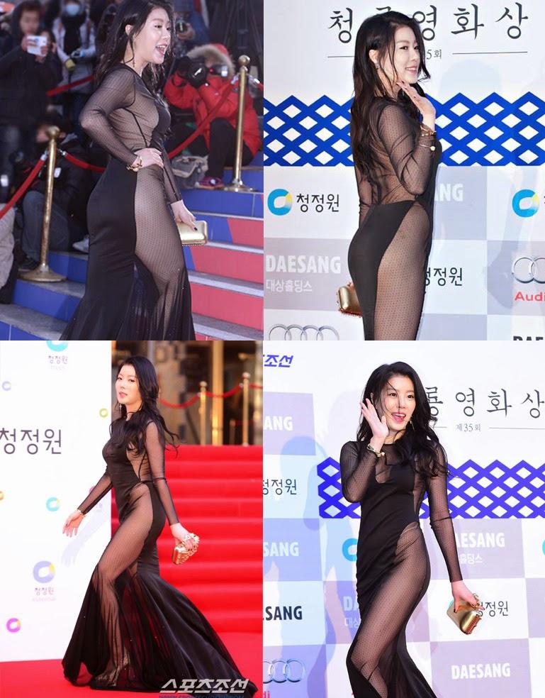 Foto Noh Su Ram Seksi Dengan Gaun Transparan Di Acara Blue Dragon Film Awards