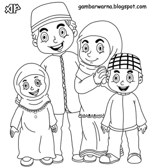 Mewarnai Keluarga Muslim Belajar Mewarnai Gambar