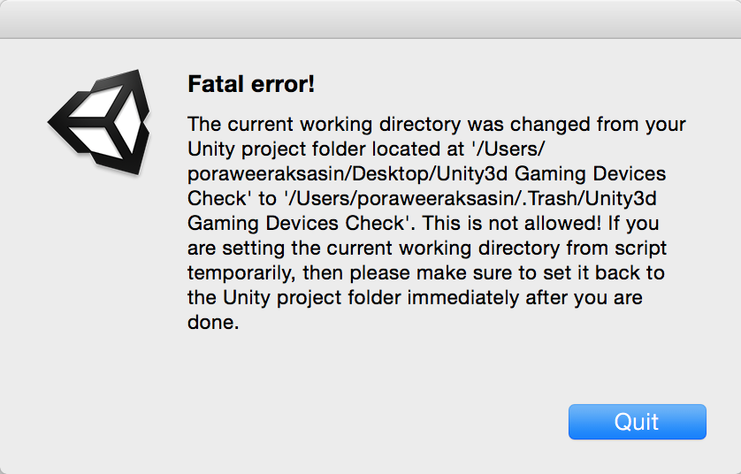 GAME DEV TO DIED: Unity3d - Fatal error! : The current