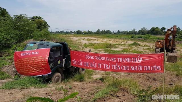 Dự án Trung Lương-Mỹ Thuận: Nhà thầu thi công giăng băng rôn đòi nợ