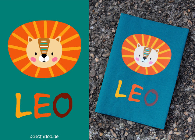 stitchydoo: Eine U-Heft Hülle mit Löwen-Plot für Leo