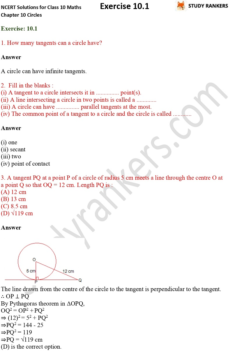 NCERT Solutions for Class 10 Maths Chapter 10 Circles Exercise 10.1 Part 1