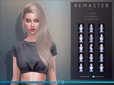 Anto - Remaster Pack 1 Анто - Ремастер, пакет 1 (Прически) для The Sims 4 Набор восстановленных волос. Переделан пакет с нуля, исправлены категории, переделаны волосы так, чтобы все они выглядели так же, как нынешние волосы. Включает 14 причесок. Автор: Anto Все прически можно увидеть на странице скачивания.