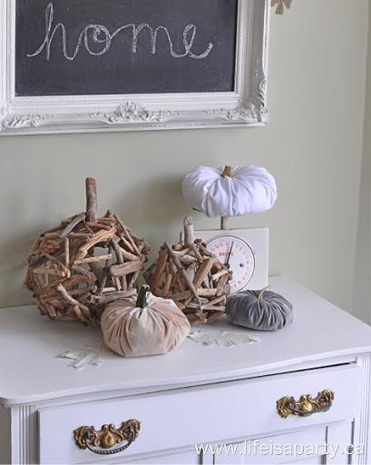 DIY Driftwood Pumpkins Fall Halloween Craft Idea