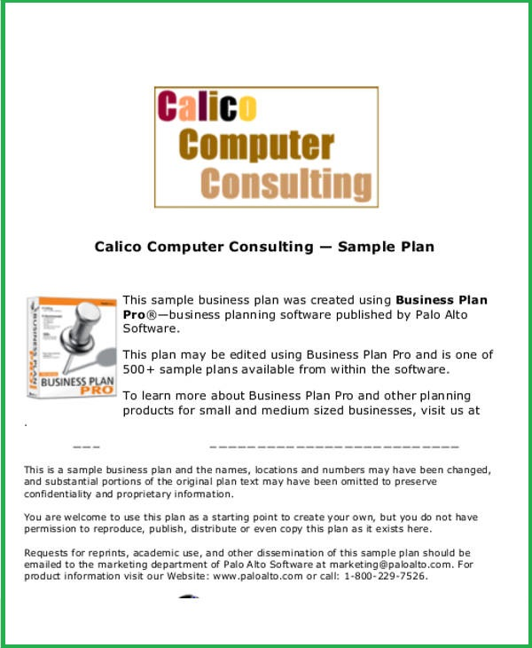 Free Business Plan Templates For Small Businesses 2017 – Software Business Plan Template