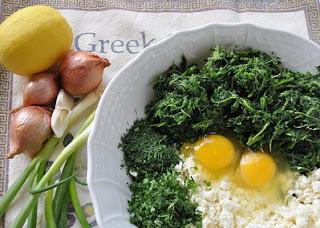 Spanakopita ingredients