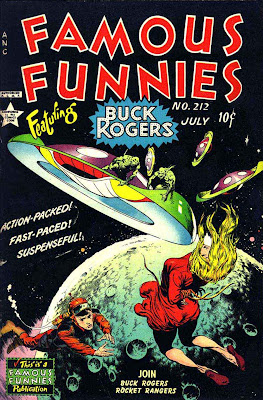 Frank Frazetta Buck Rogers 1950s golden age science fiction comic book cover / Famous Funnies #212