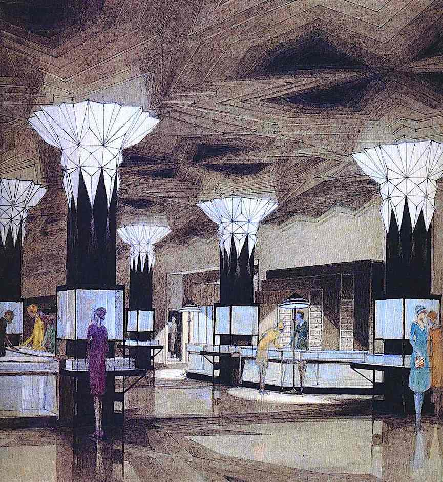 a color drawing of a 1928 Joseph Urban store interior design
