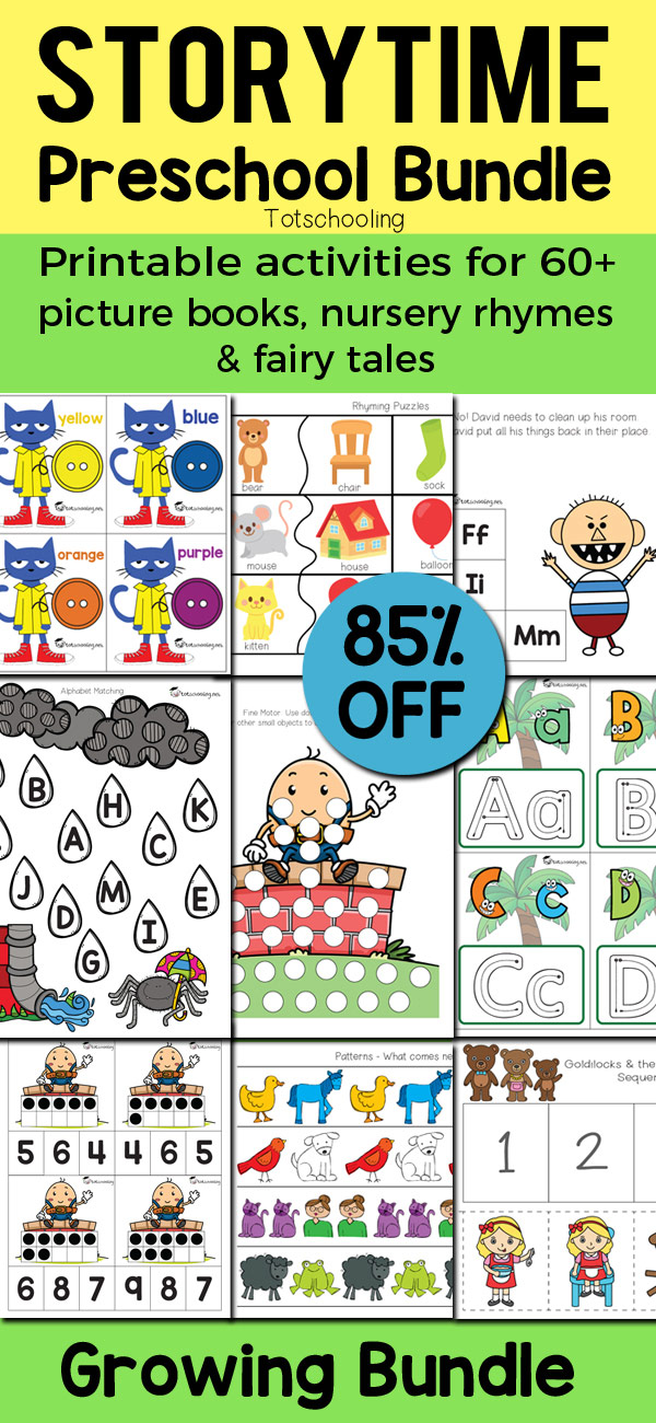 Huge bundle of preschool printable activities based on 64 popular picture books, nursery rhymes and fairy tales. Kids will love learning math, literacy and fine motor skills with all of their favorite characters from their favorite stories! Pete the Cat, Chicka Chicka Boom Boom, Goodnight Moon, Brown Bear, No, David!, 3 Little Pigs, Goldilocks & the 3 Bears, The Gingerbread Man, Humpty Dumpty, Itsy Bitsy Spider and so much more!