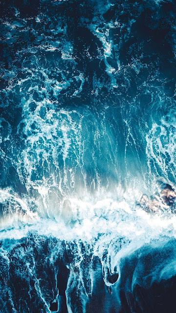Blue wallpaper HD, Sea, Waves, Aerial view