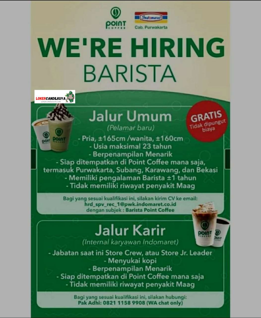 Lowongan Barista Point Coffee