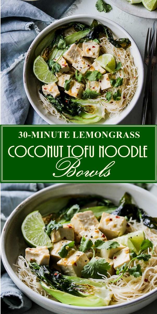 30-MINUTE LEMONGRASS COCONUT TOFU NOODLE BOWLS #Dinnerecipes