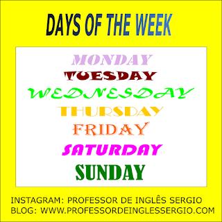Dias da semana, meses e estações do ano em inglês