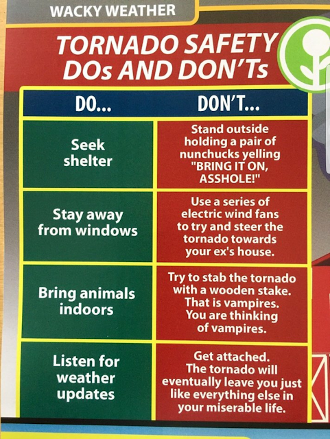 Funny Wacky Weather - Tornado safety dos and don'ts Poster