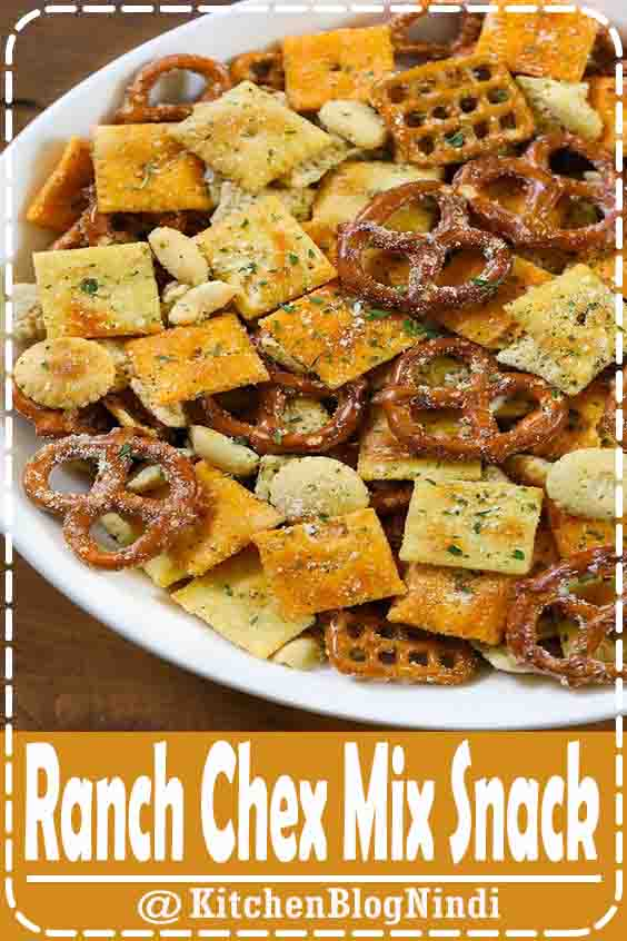 4.9★★★★★ | We've loaded our zesty Ranch Chex Mix with seasoned pretzels, peanuts, Chex cereal, and a variety of crackers.  This insanely easy ranch snack mix is tossed with mustard powder, ranch seasoning, and melted butter then baked in the oven for 30 minutes until crunchy and golden brown. #Ranch #ChexMix #Snack