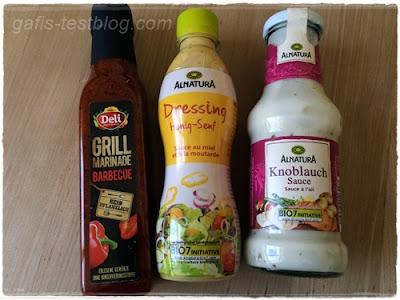 Deli - Grillmarinade Barbecue, Alnatura - Honig Senf Dressing  und Alnatura - Knoblauch Sauce