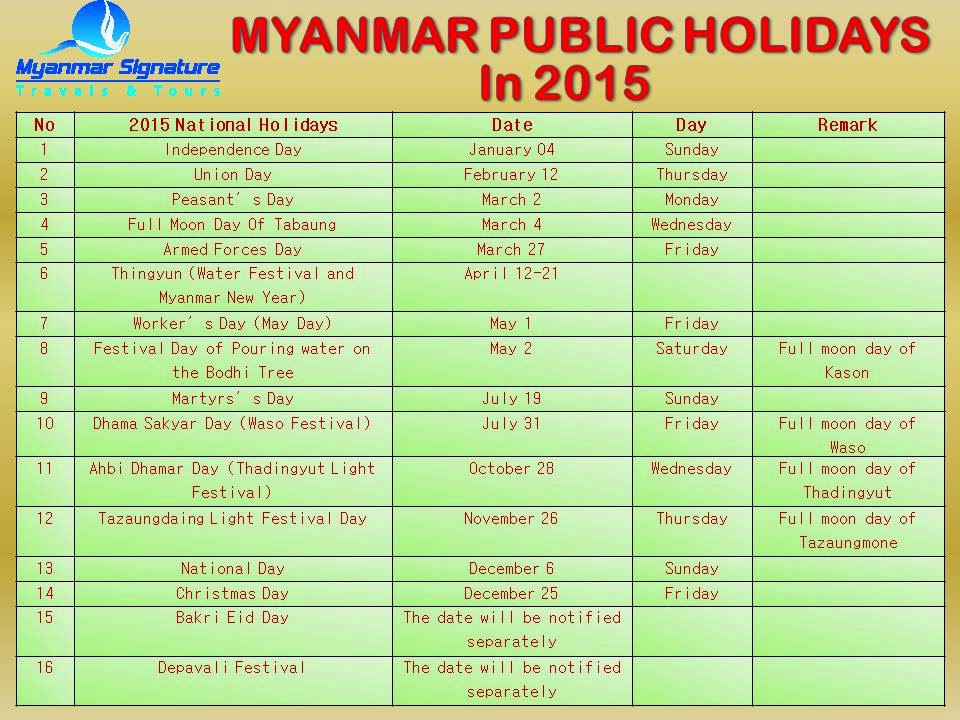 2013 Holiday Dates Us Holidays Vp Calendar Myanmar Signature Travels And Tours Myanmar Nationalpublic