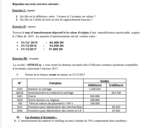 Examen corrigé de La comptabilité générale S2