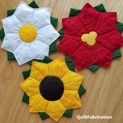 Flower Coasters by QuiltFabrication