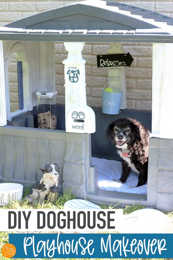 Make a cozy DIY doghouse with this playhouse makeover! Transform a plastic playhouse into a doghouse your pup will love. Such a cute playhouse makeover! Love this idea for a doghouse to give your dog a retreat of his own. #ad #ErieInsuranceDIY #erieinsurance #homeowners #DIY #doghouse