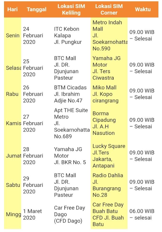 Informasi Jadwal SIM Keliling Bandung 24 Februari s/d 1 Maret 2020