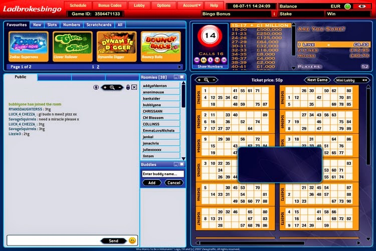 Ladbrokes Bingo Ticket Screen