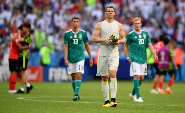 Manuel Neuer of Germany looks dejected following his sides defeat in the 2018 FIFA World Cup Russia group F match between Korea Republic and Germany at Kazan Arena on June 27, 2018 in Kazan, Russia.