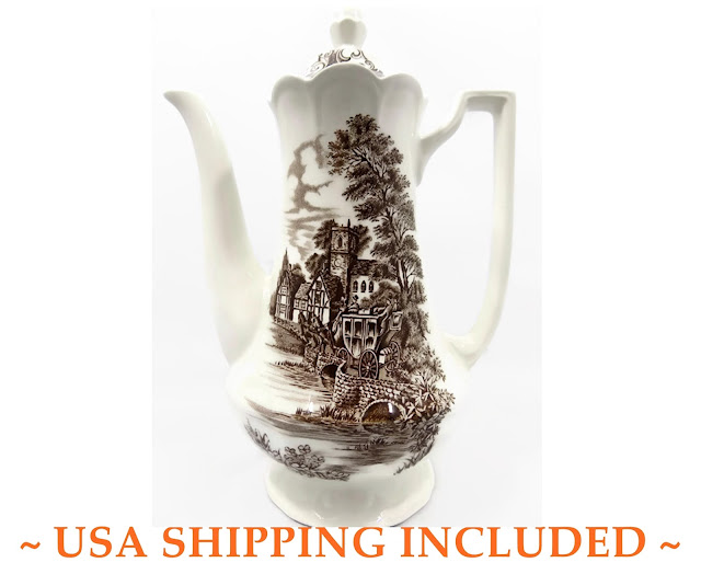 J. & G. Meakin, Vintage Ironstone Coffee Pot, Stratford Stage Brown Pattern