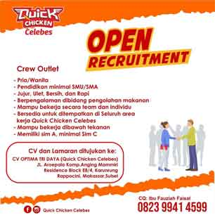 Lowongan Kerja Crew Outlet di Quick Chicken Celebes