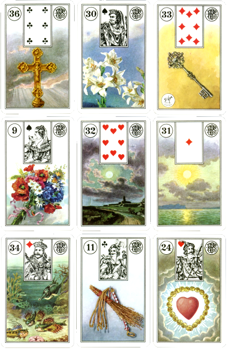 Piatnik Lenormand, cross, lily, key, bouquet, moon, sun, fish,whip, heart, square of nine.