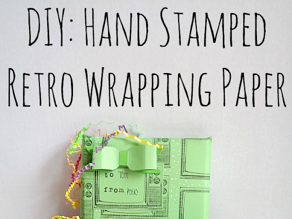 DIY: Hand Stamped Retro Wrapping Paper + Giveaway!