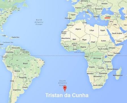 Tristan da Cunha Adası Afrika'da Nerede