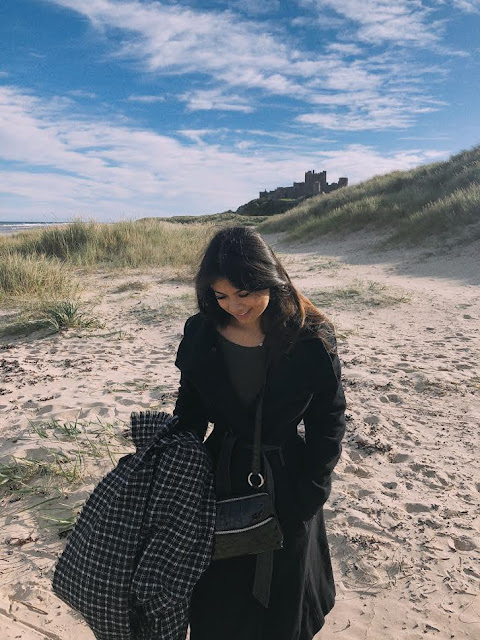 Kelly FOuntain wearing Brighton Collectibles and Marc Jacobs coat at the Hogwarts Castle in northern England