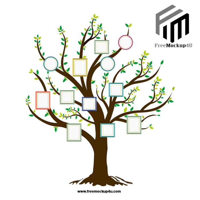 Big Tree Photo Frame Cartoon Vector