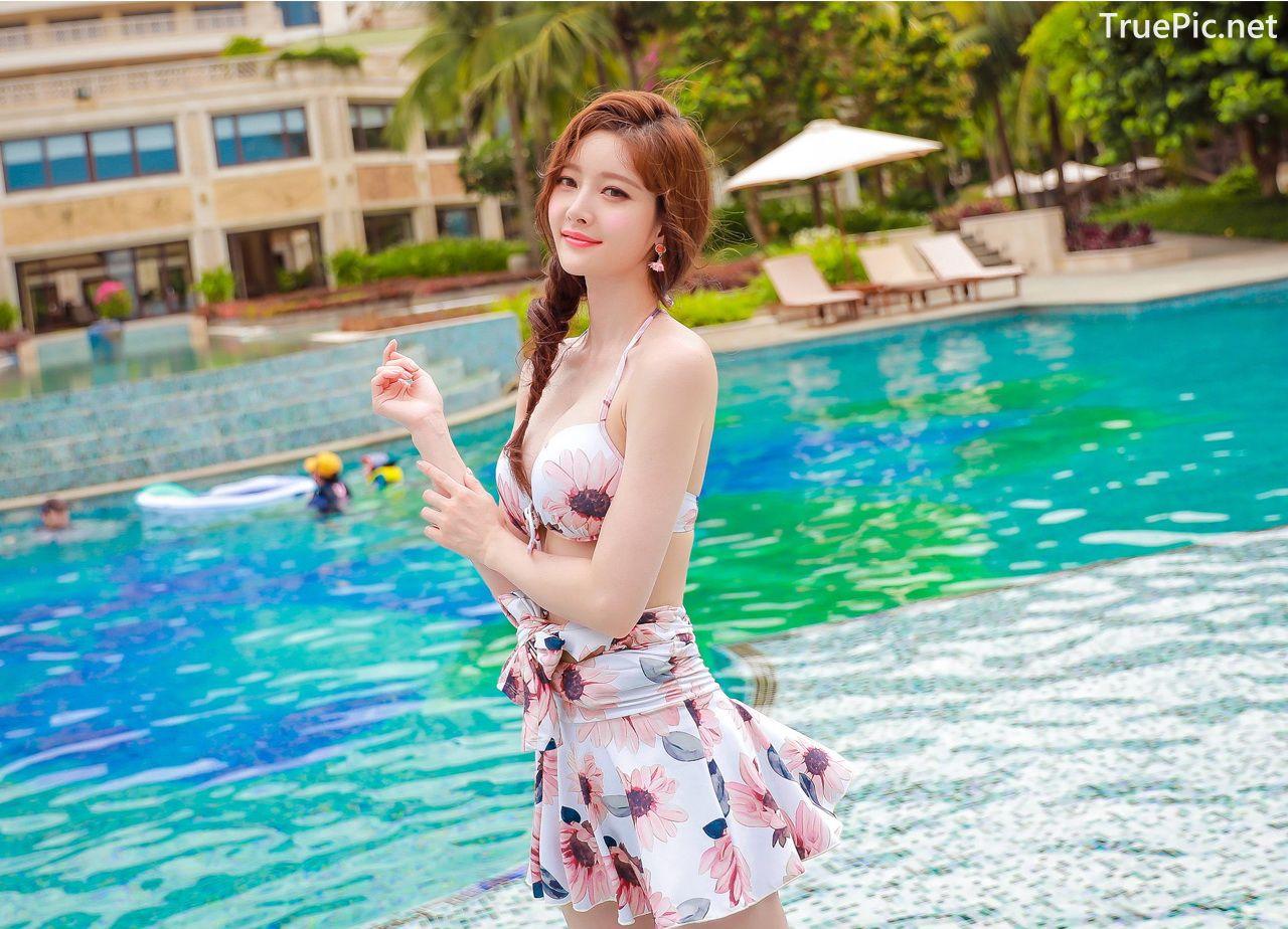 Image Korean Fashion Model - Kim Hee Jeong - Pink Fantasy Flamingo Swimsuit - TruePic.net - Picture-6