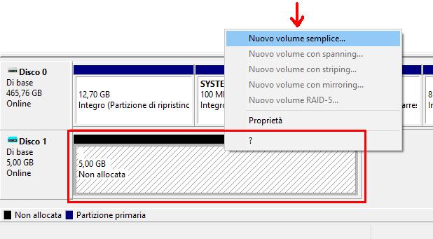 Gestione disco opzione menu Nuovo volume semplice