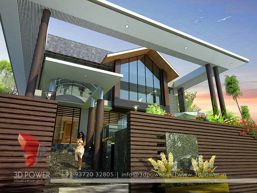 contemporary modern home designs. Front View Of 3D Contemporary Bungalow Ultra Modern Home Designs  Exterior Design