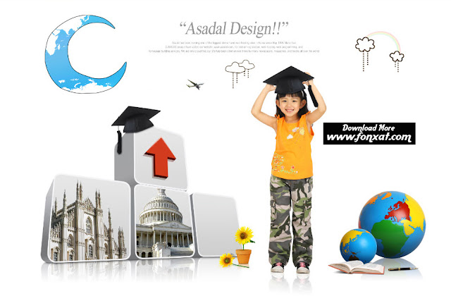 FREE PSD download : Design students graduated from college