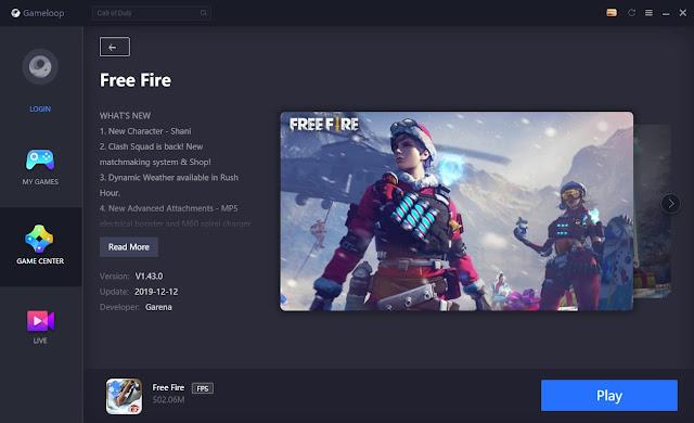 Cara Update Free Fire Patch Winterland 1.43.0 di Gameloop Emulator