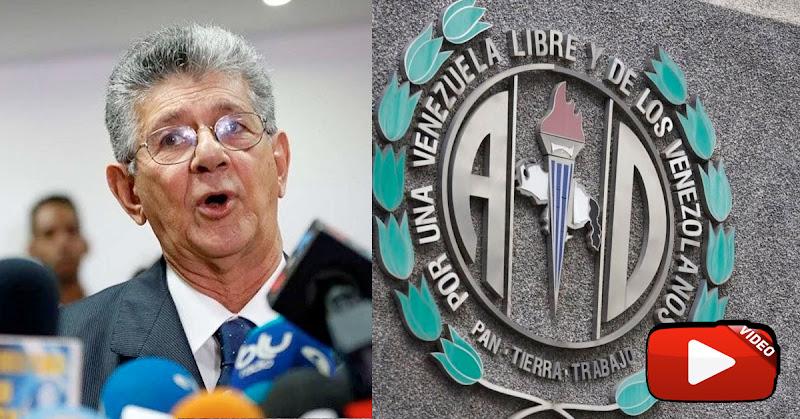 Ramos Allup confirma que el régimen asaltó al partido Acción Democrática