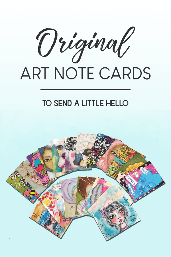 pinnable image of assorted whimiscal art note cards from Melrose Originals