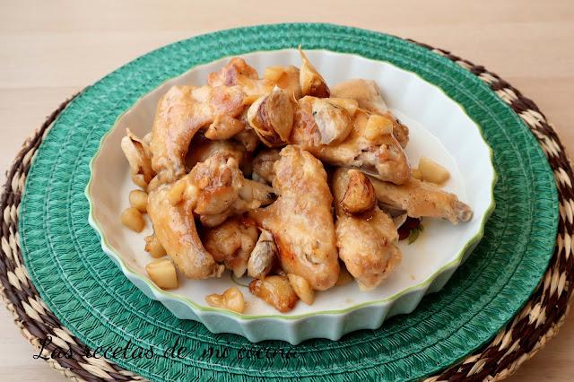 Alas de pollo al ajillo