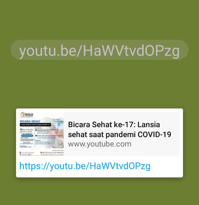"""Materi dan Link Youtube Seminar RSUI """"Lansia Sehat pada Saat Pandemi Covid-19"""""""