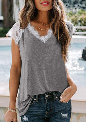 Lace Splicing V-Neck Blouse without Necklace - Gray