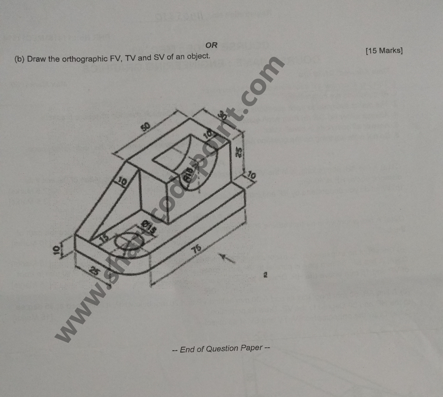 MEC103 : Engineering Graphics Mid Term Exam Question Paper